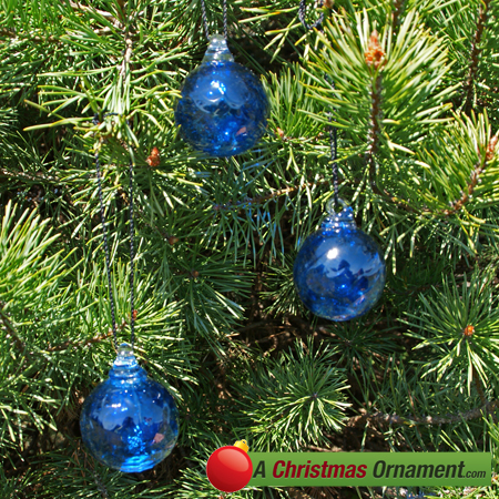 Cobalt Blue Crystal Glass Two Inch Ornament Ball (set of 3)