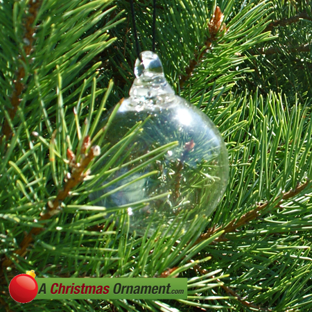Clear Crystal Glass Three Inch Ornament Ball - Christmas Ornaments Made In USA - Clear Crystal Glass Three Inch