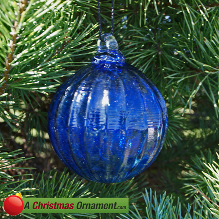 Cobalt Blue Crystal Glass Optic Three Inch Ornament Ball