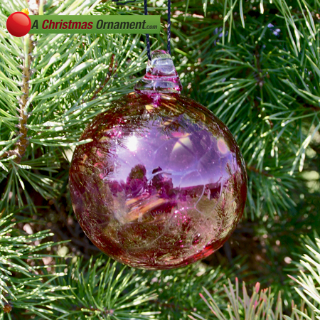Cranberry Red Crystal Glass Three Inch Ornament Ball - Christmas Ornaments Made In USA - Cranberry Red Crystal Glass Three