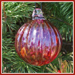 Cranberry Red Crystal Glass Optic Three Inch Ornament Ball