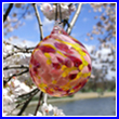 Cherry Blossom Crystal Glass Ornament Ball