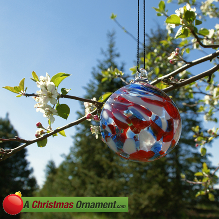 Red, White and Blue Patriotic Crystal Glass Ornament - Christmas Ornaments Made In USA - Red, White And Blue Patriotic