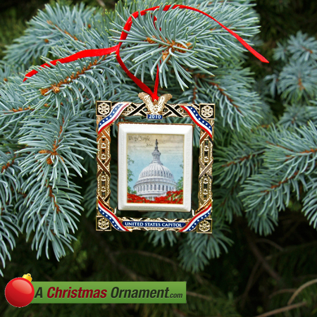 2010 US Capitol Marble Framed Dome Ornament