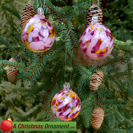 Cherry Blossom Crystal Glass Two Inch Ornament Ball (set of 3)