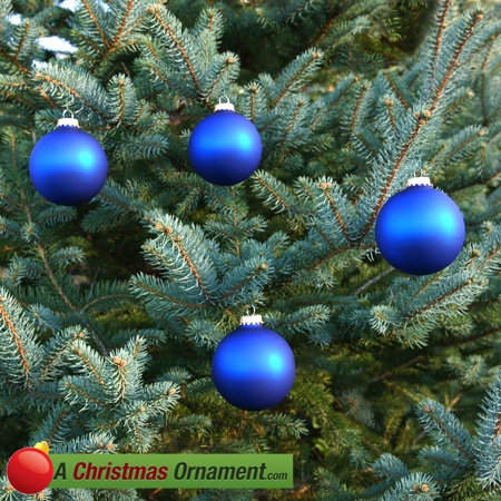 Royal Blue Velvet Glass Ornament Balls - Set of 4