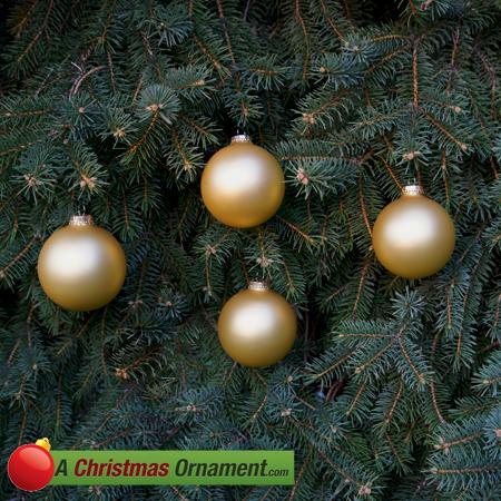Gold Velvet Glass Ornament Balls - Set of 4
