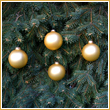 Gold Velvet Glass Ornament Balls - Set of 4