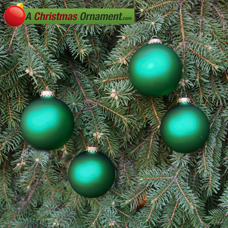 Green Velvet Glass Ornament Balls - Set of 4