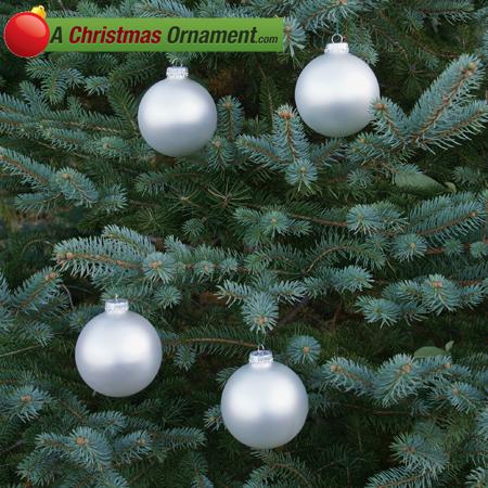 Silver Pearl Glass Ornament Balls - Set of 4
