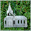 Pewter Church Congregation and Steeple Ornament