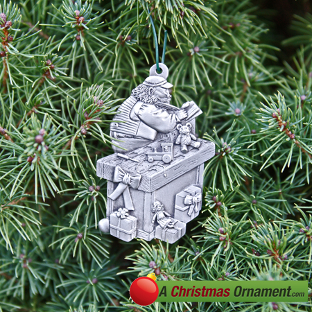 Pewter Santa Clause Workshop Ornament