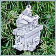 Pewter Santa Clause Workshop Ornament