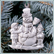 Pewter Snowman and Children Ornament
