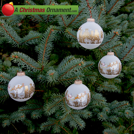 Frost Velvet Night Before Christmas Glass Ornaments - Set  of 4