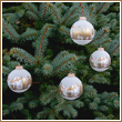 Frost Velvet Night Before Christmas Glass Ornaments - Set  of 4