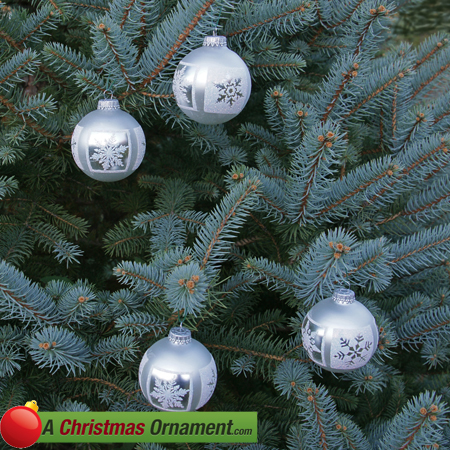 Silver Pearl Frosted Snowflake Ornament Balls - Set of 4